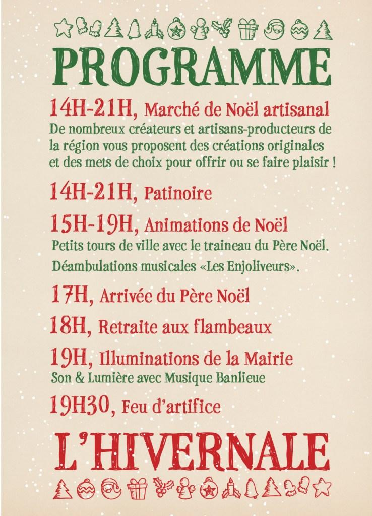 programme l'Hivernale Marché de Noël