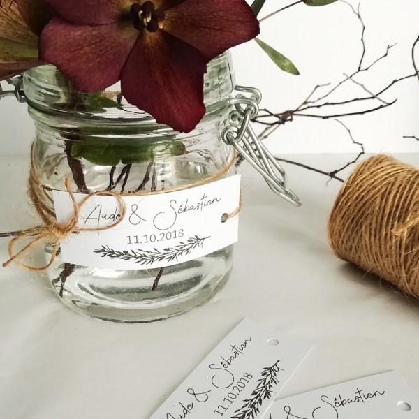 étiquettes mariage thème Brindille