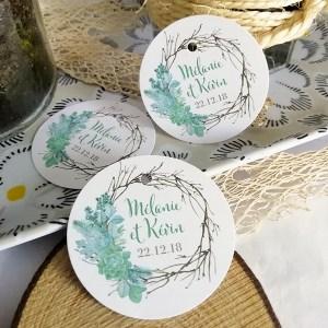 étiquettes mariage succulente