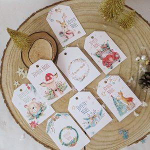 étiquettes Noël animaux de la forêt