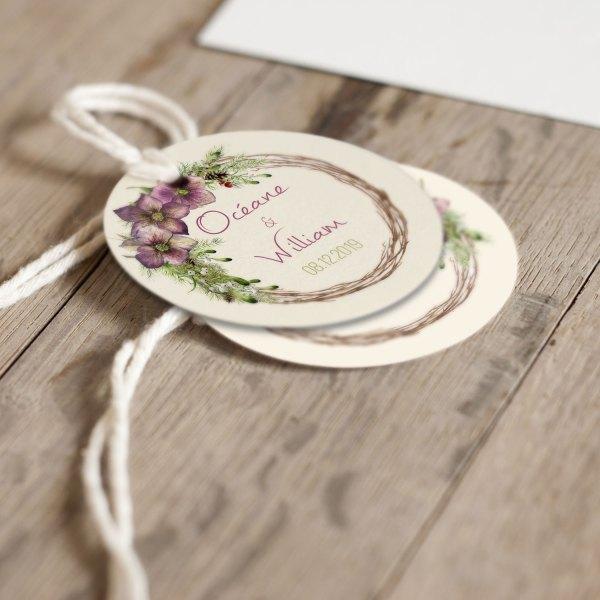 Collection mariage étiquettes hellébores