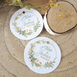Etiquettes à planter mariage collection Bouton d'Or