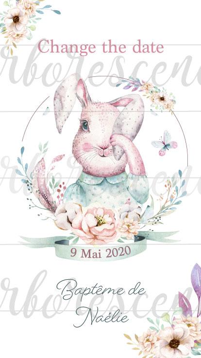 Change the date - faire-part baptême lapin