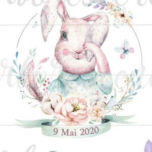 Change the date - faire-part baptême lapin