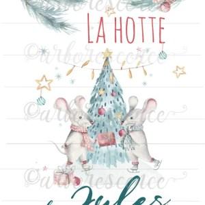 Hotte de Noël les amoureux souris