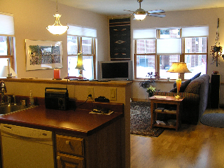 photo of kitchen and living room of an Arbco unit