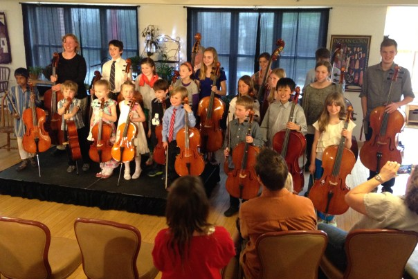 photo of cello recital by Flora's students.
