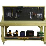 Work Bench With Pegboard Wooden Industrial Garage Heavy Duty Mobile Table Ebay