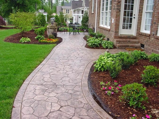 stamped colored concrete landscaping