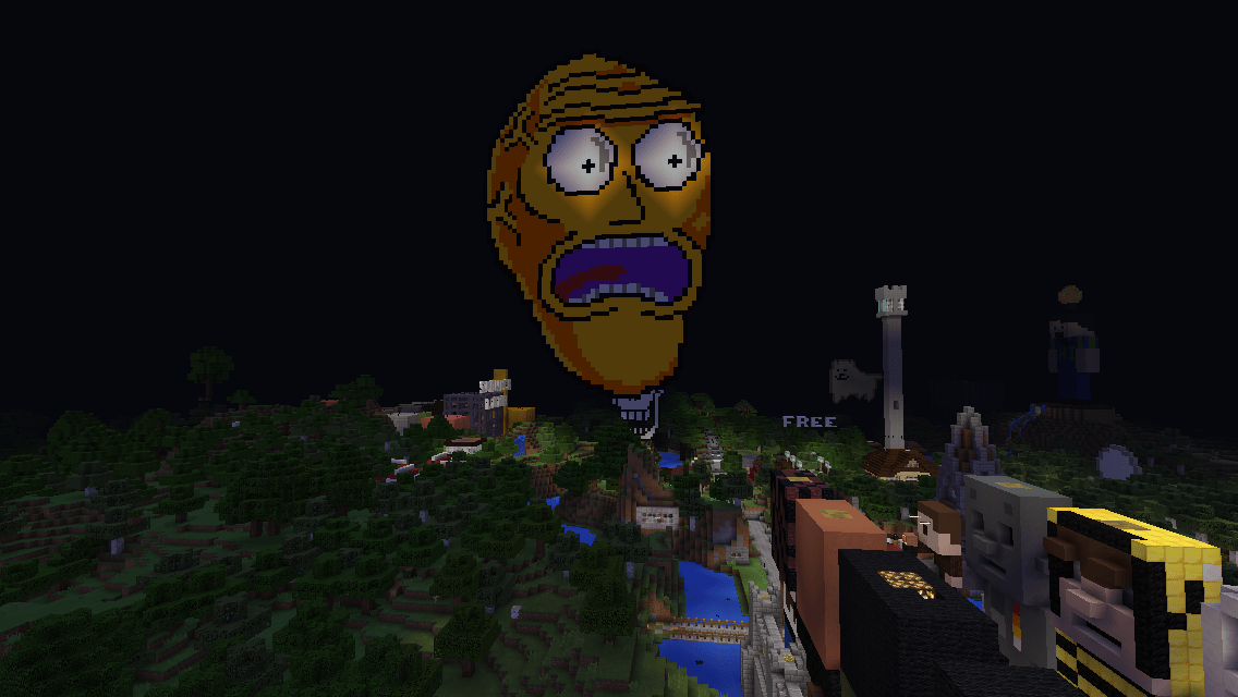 Screenshot from minecraft, depicting a pixel art rendition of the Cromulon from the TV show Rick and Morty