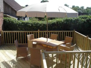 Decking with furniture, East Grinstead, Sussex