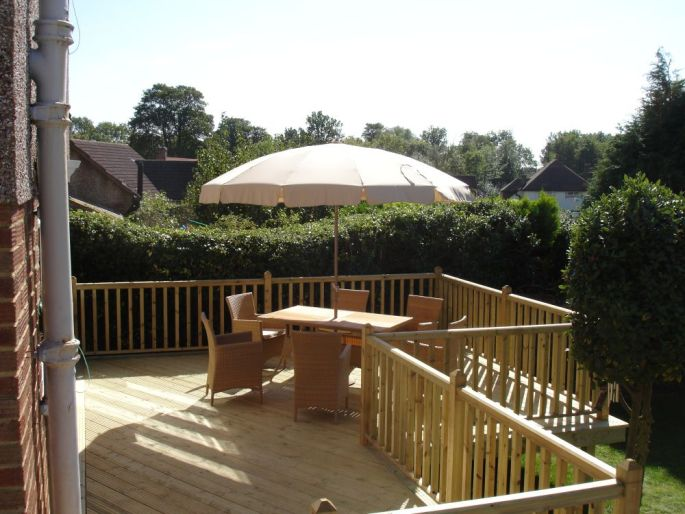 Decking with handrails, East Grinstead, Sussex