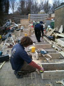 Recycled timber planters in the design phase