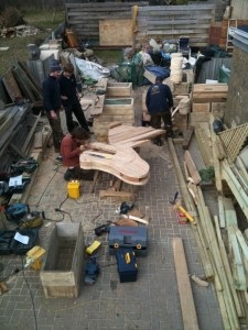 Recycled timber planter for a primary school in Sussex