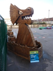 The 12 metre high and 23 metre long Viking Sea Serpent planting structure