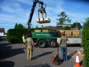 Materials delivery for brick pathway installation at a caravan park in Sussex