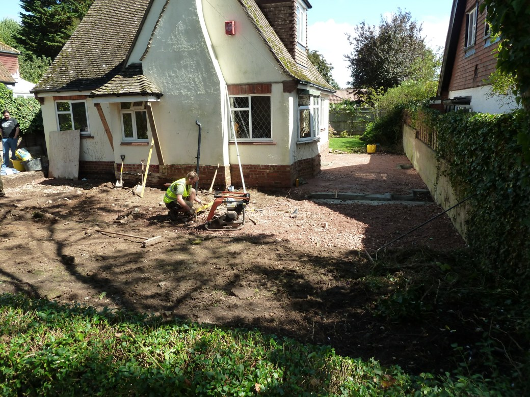 Arbworx : Plants Gone, The area is prepared for the paving to begin