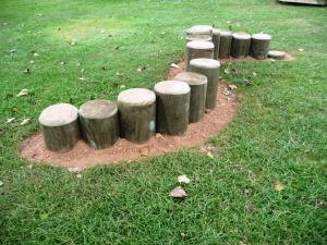 Solid timber 'snake' balance posts