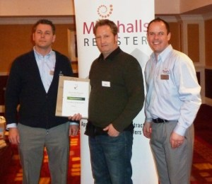 Jon Lee receiving 'Best Engineering Achievemnet' award