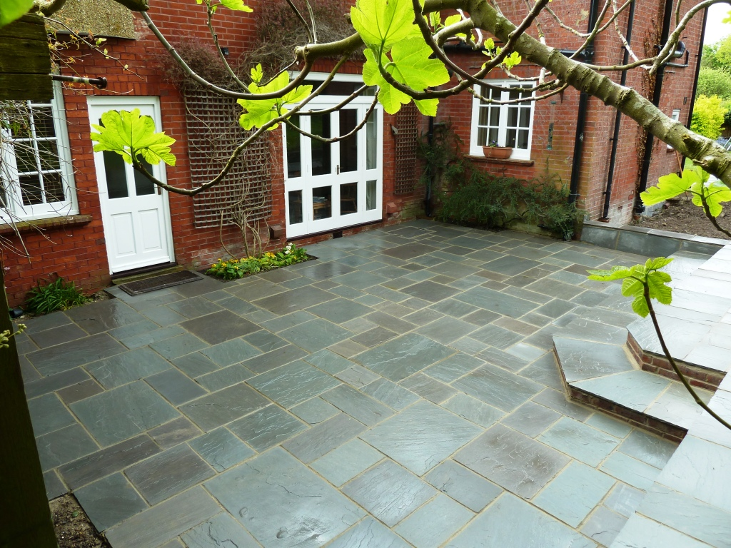 Patio area laid with Marshalls Fairstone silver birch multi project packs