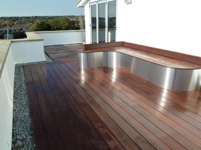 Ipe hardwood decking roof terrace, Arbworx, Sussex
