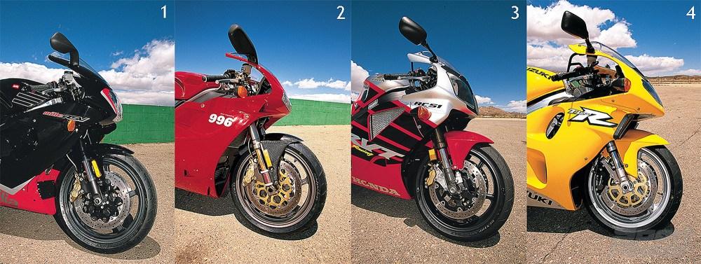 medium resolution of v twin comparison of the ducati 996 vs aprilia rsv mille vs honda rc51 vs suzuki tl1000r from the archives cycle world