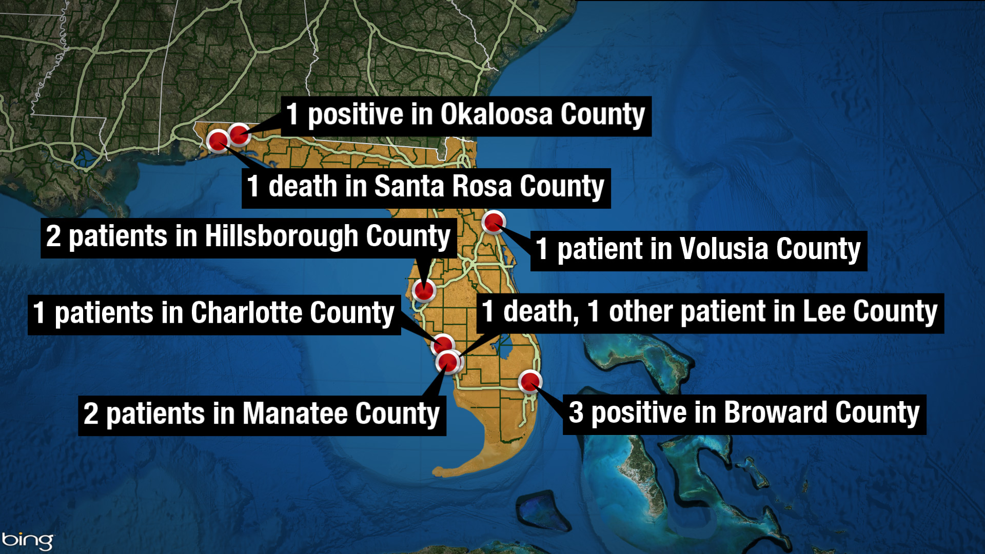1st deaths, cases mount in Florida