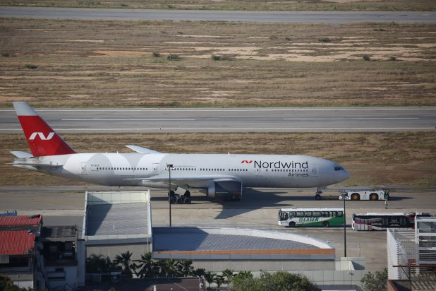 A Boeing 777-200ER plane from Nordwind Airlines of Russia takes off at Simon Bolivar Airport in Caracas, Venezuela, January 30, 2019. REUTERS/Andres Martinez Casares