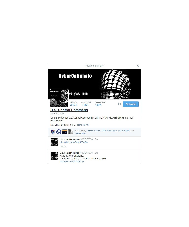 CENTCOM's Twitter, YouTube sites back online