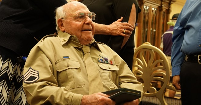 After waiting more than 70 years, World War II veteran and POW, now 94, receives Purple Heart