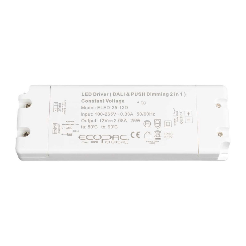 Ecopac 12/24V 25W Dali Dimmable LED Driver