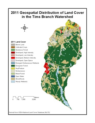 2011 Geospatial Distribution of Land Cover in the Tims Branch Watershed