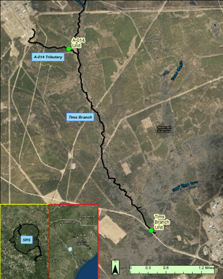 Deployment locations of the two remote monitoring stations along the Tims Branch watershed.
