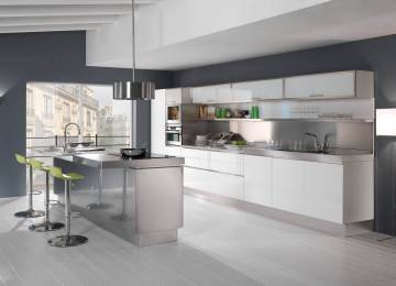 Cucine Acciaio E Legno | Cucina Isola Laccar Bianca Tavolo In Legno ...