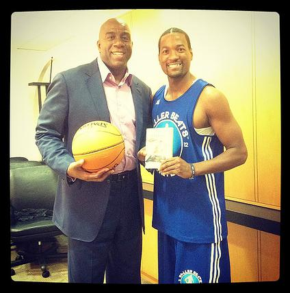 Baller Beats event, Magic Johnson and Curtis Smith pictured