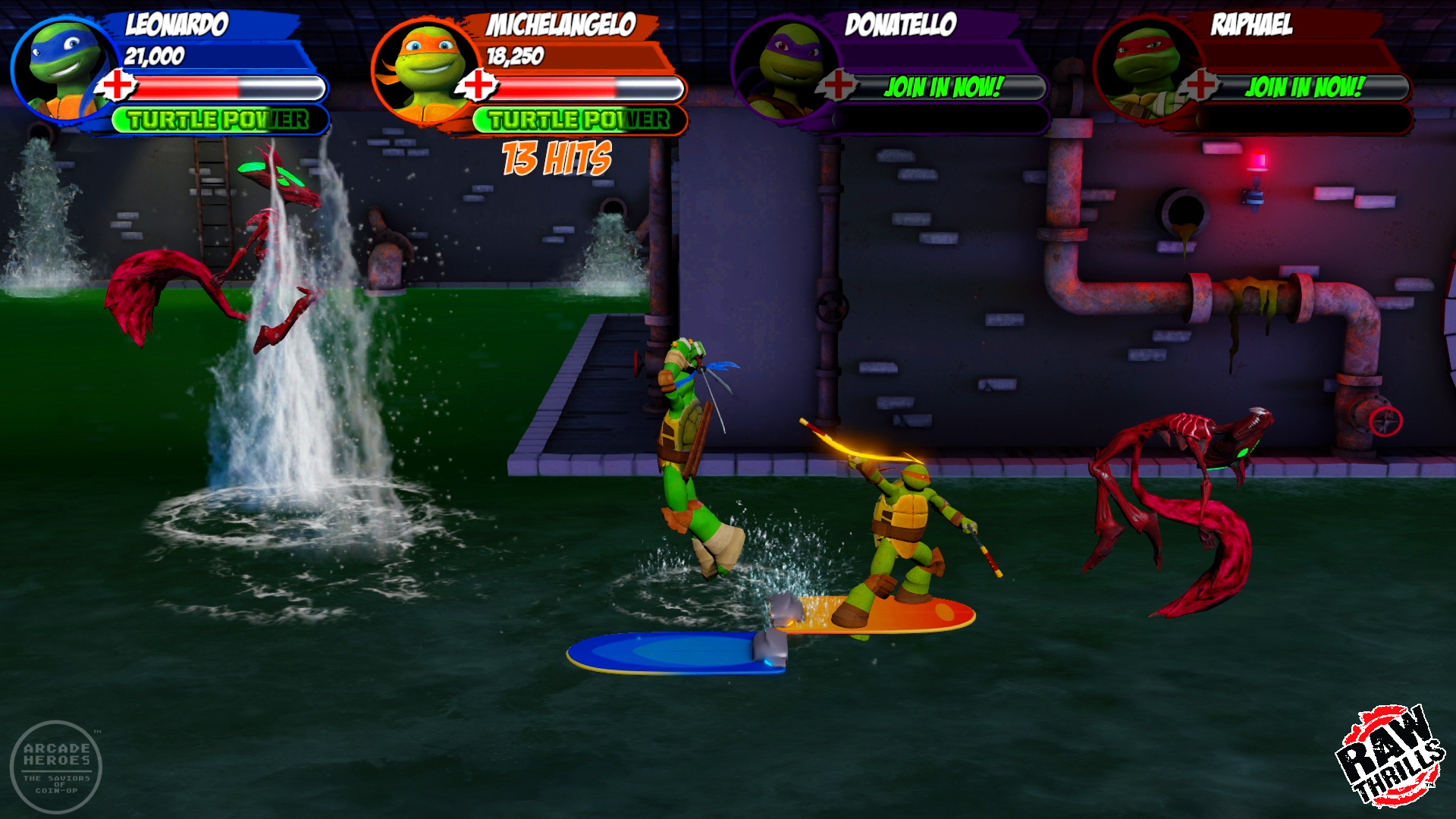 TMNT Arcade 2018, Raw Thrills. Sewer surfing
