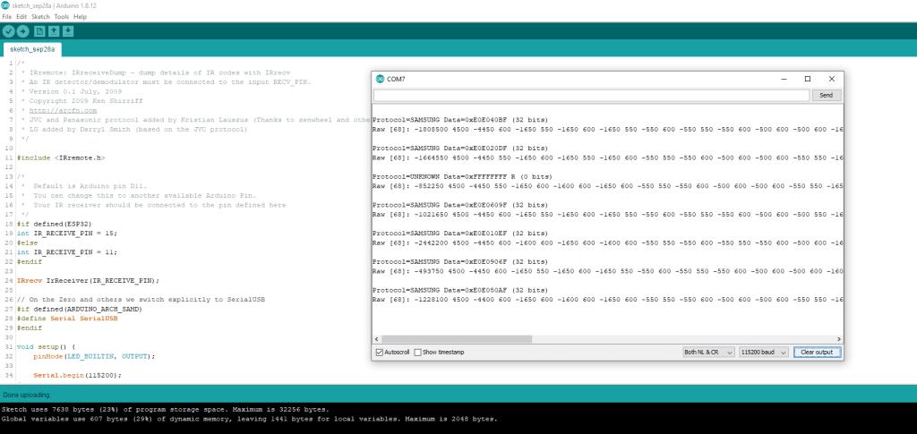 Данные от пульта samsung на модуле KY-022