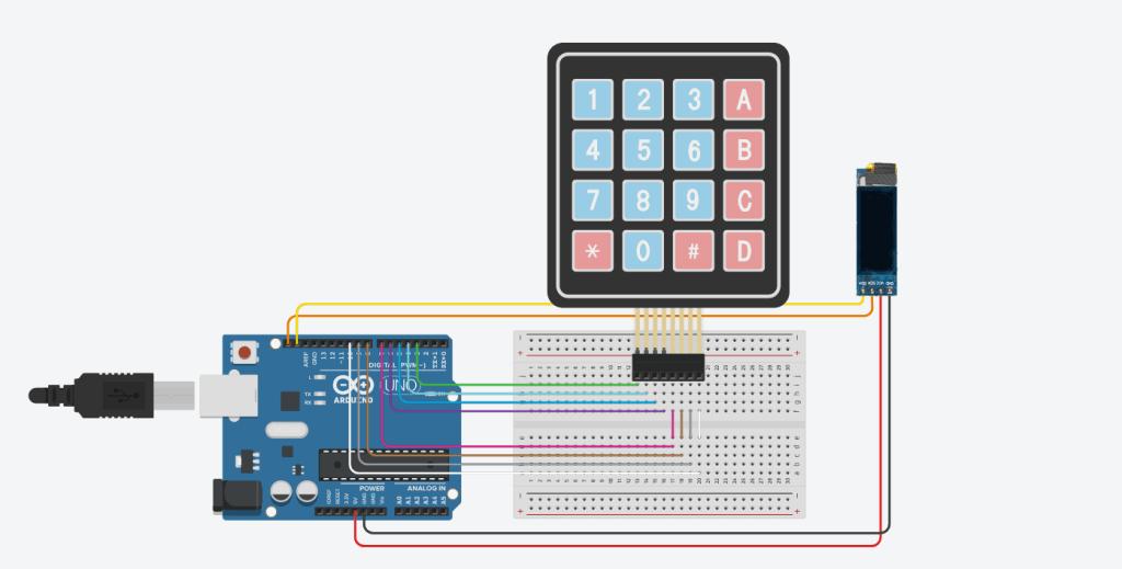 Принципиальная схема подключения клавиатуры и дисплея
