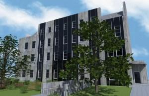 ArCADia BIM LT Architektur Erweiterung - 2D 3D CAD Original Rendering - Aussenansicht, Frontal, Bürogebäude 2