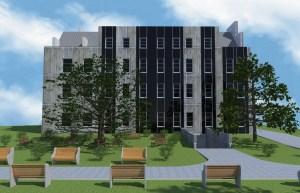 ArCADia BIM LT Architektur Erweiterung - 2D 3D CAD Original Rendering - Aussenansicht, Frontal, Bürogebäude