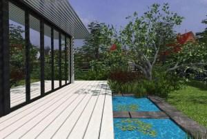 ArCADia BIM LT Architektur Erweiterung - 2D 3D CAD Original Rendering - Aussenansicht Terrasse mit Teich