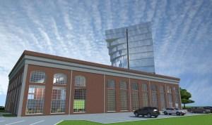 ArCADia BIM LT Architektur Erweiterung - 2D 3D CAD Original Rendering - Aussenansicht alte Fabrikhalle mit modernem Bürogebäude 2
