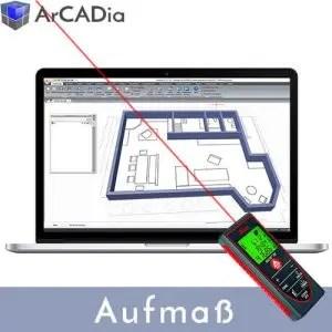 ArCADia BIM Aufmaß Erweiterung mit Bluetooth Entfernungsmesser Leica