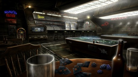 """Black Falls"" Background Illustration - Ray´s Bar"