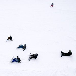 Snowboard lesson for beginners from above.