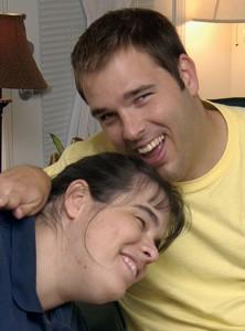 A brother and sister hug