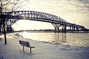 Winter Bridge Over River