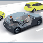 Autonomous vehicle with two people riding