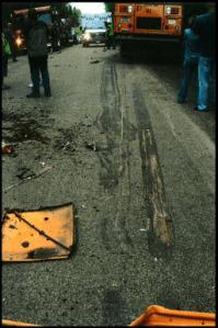 roadway post center line collision