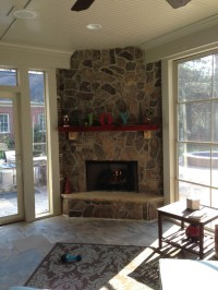 Kansas City screened porch with outdoor fireplace ...